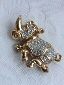 "Hippo Brooch  signed ""Attwood and Sawyer"" - Gold Plated Hippopotamus Pin"